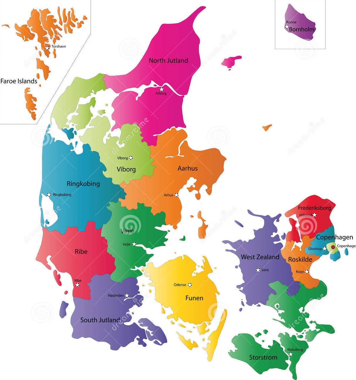 Map of Denmark, Fast and reliable express delivery service from Taiwan to Denmark